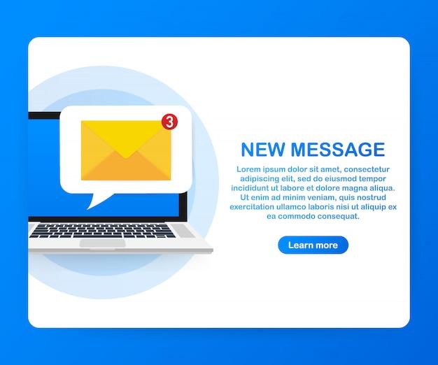 이메일 알림 개념. 노트북 화면에 새로운 이메일. .