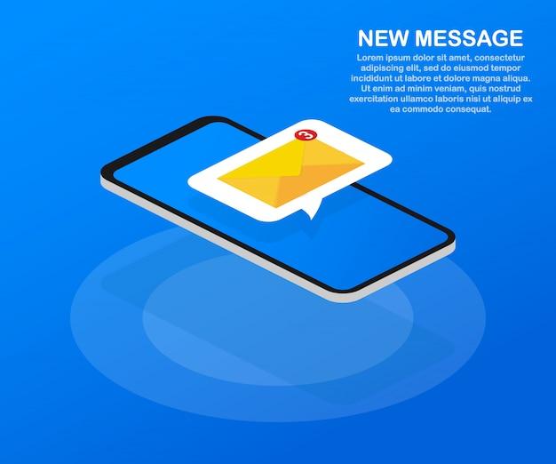 이메일 알림 개념. 스마트 폰 화면의 새 이메일.