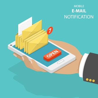 Email notification flat isometric vector concept.