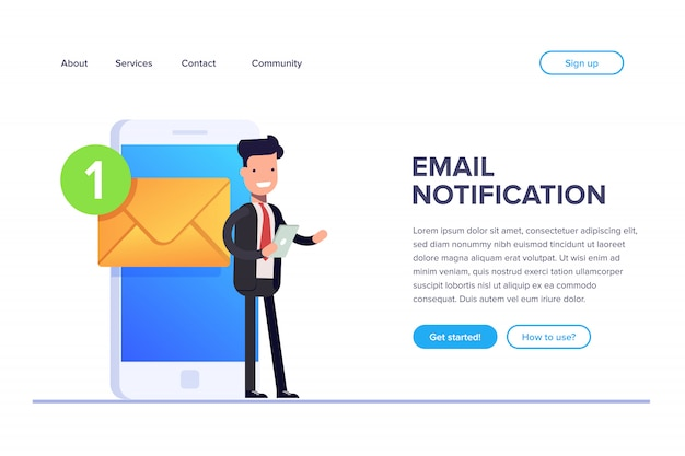 Email notification landing page