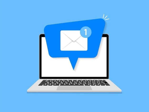 ラップトップでの電子メール通知。新しいメッセージ。ノートパソコンの画面にメールで通知します。フラットスタイル。図。
