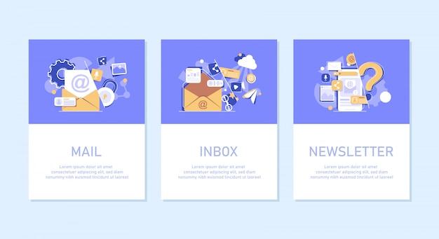 メール送信のコンセプト、オンライン広告、メールとメッセージング、メールマーケティングキャンペーン、フラットなデザインアイコン