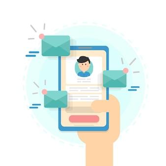 メール送信のコンセプト。ネットの広告。