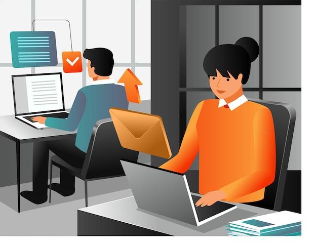 Email sending process in flat design