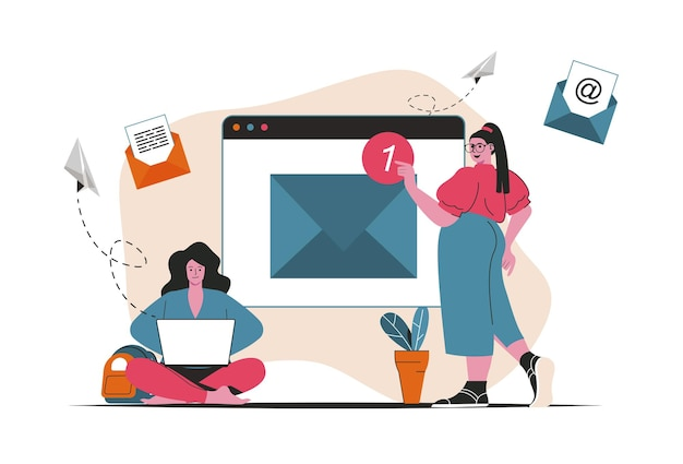 分離された電子メールサービスの概念。手紙の送受信、通知、郵送。フラットな漫画のデザインの人々のシーン。ブログ、ウェブサイト、モバイルアプリ、販促資料のベクターイラスト。