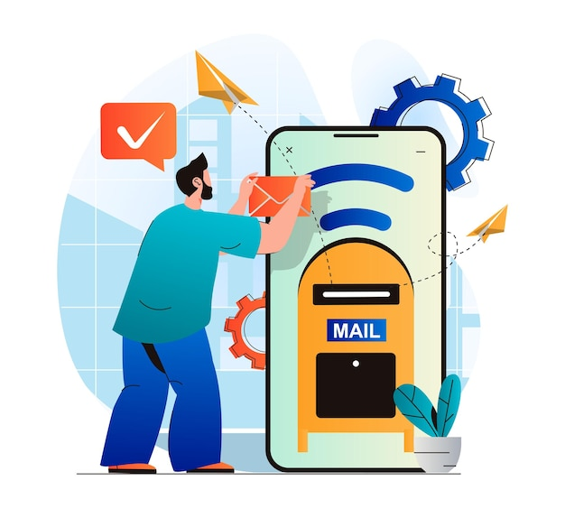 Email service concept in modern flat designman sending new letters from mobile application