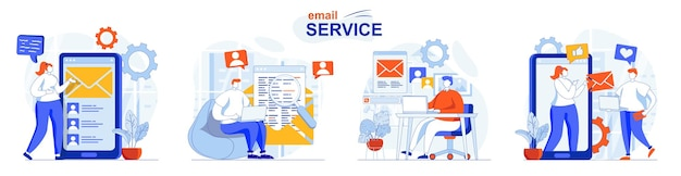 Email service concept set applications for online correspondence messaging