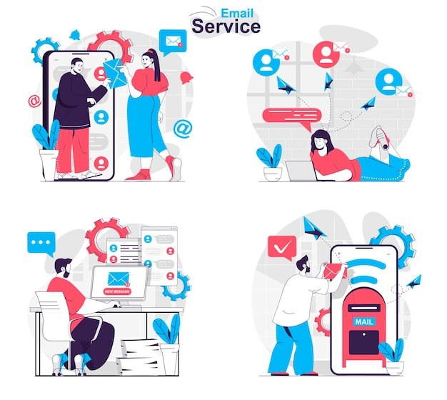 Email service concept set users correspond in chats sending messages in apps