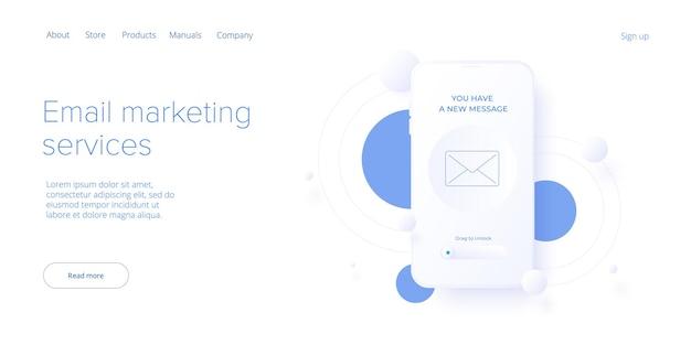 Служба электронной почты в изометрической концепции сообщения электронной почты как рассылка информационного бюллетеня по бизнес-маркетингу