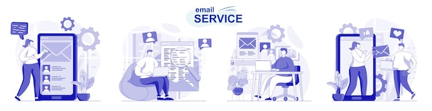 Email service isolated set in flat design people send and receive letters personal correspondence