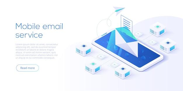 メールサービスアイソメトリック。ビジネスマーケティングの一部としての電子メールメッセージの概念。ウェブサイトランディングヘッダーのウェブメールまたはモバイルサービスのレイアウト。ニュースレター送信の背景。