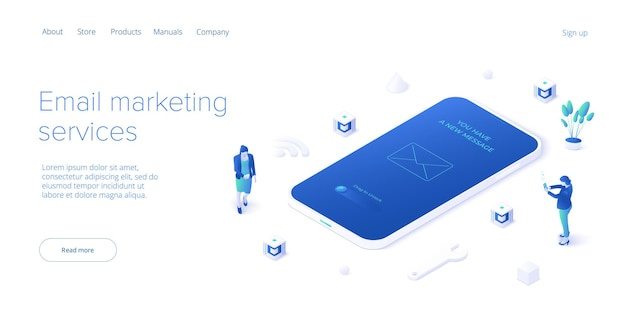 Email service in isometric. electronic mail message concept business marketing.