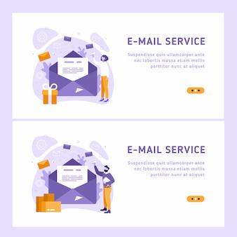 メールサービスのアイソメ図。ビジネスマーケティングの一環としての電子メールメッセージの概念。