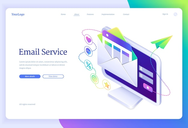 Email service landing page in isometric view