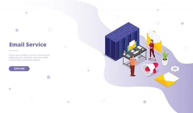 アイソメ図スタイルのメールサービスのランディングページテンプレート