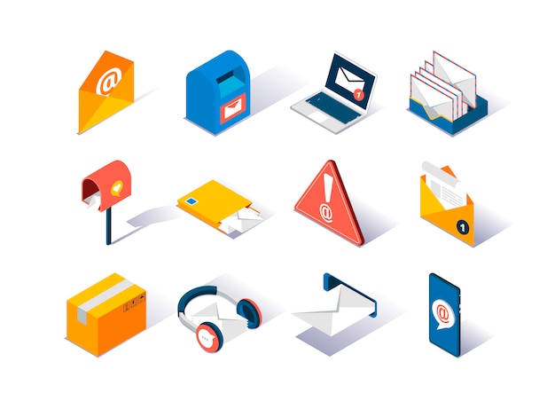 Email service provider isometric icons set.