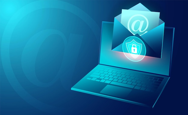Email service security and electronic mail message and web mail on computer laptop