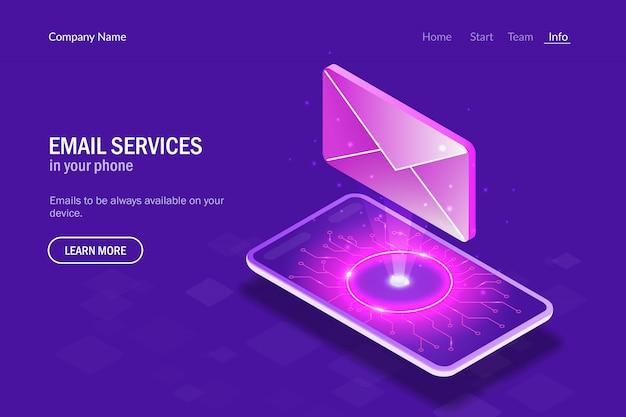 スマートフォンのメールサービス。スマートフォンの背景にあるホログラムの手紙