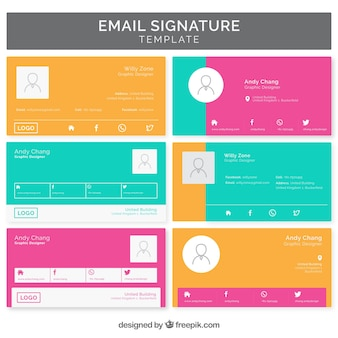 Email signature collection in flat style