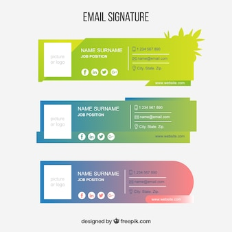 Email signature collection in gradient colors