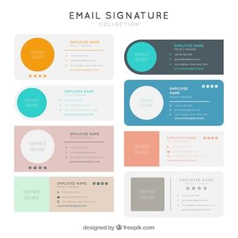 フラットスタイルの電子メール署名コレクション