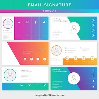 Коллекция подписей электронной почты в градиентных цветах