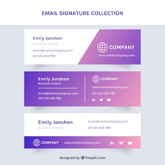 Email signature vectors photos and psd files free download email signature collection in gradient style maxwellsz