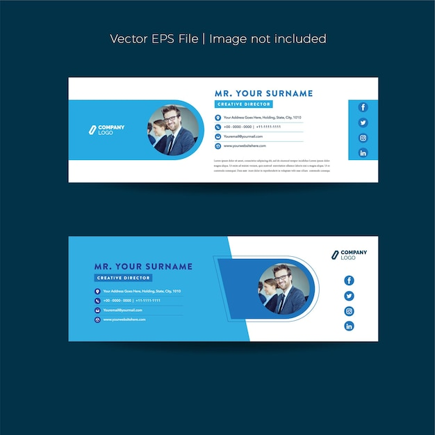 Email signature design or email footer or personal social media cover