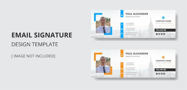 Email signature design template or email header footer for personal and social media cover vector