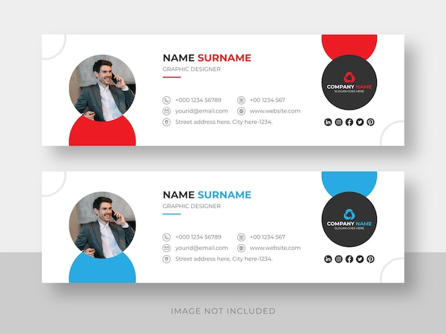 Email signature or email footer and personal social media facebook cover design template