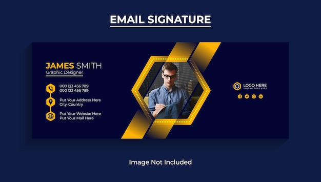 メールの署名またはメールのフッターテンプレートとソーシャルメディアのカバーデザインプレミアムベクター