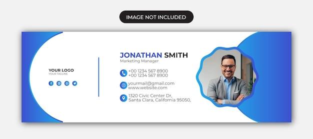 電子メールの署名または電子メールのフッターテンプレートとソーシャルメディアのカバーデザインプレミアムベクトル