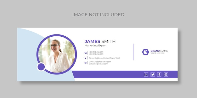 Email signature and personal social media email footer templates cover design premium