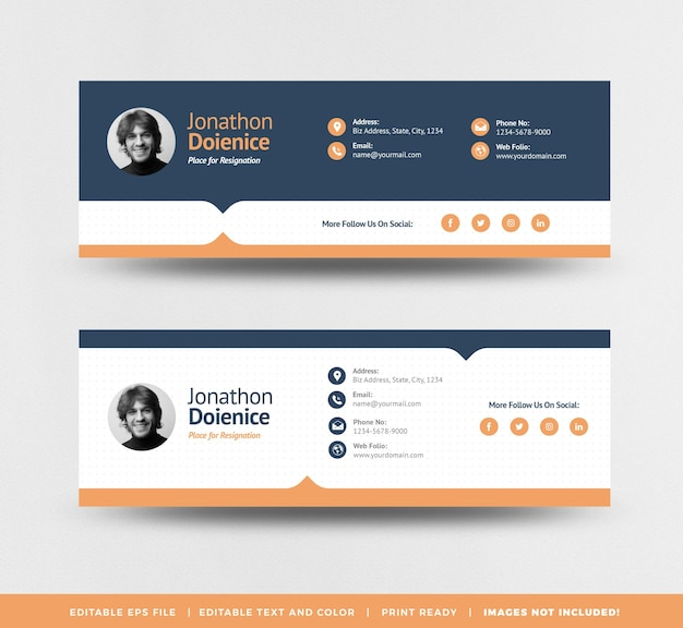 Email signature template design or email footer or personal social media cover
