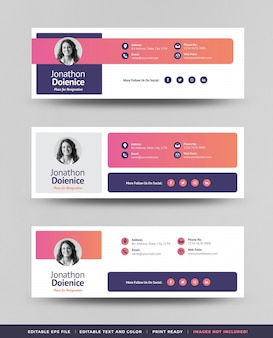 Email signature template design or email header and footer or personal social media cover
