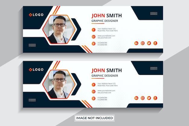 Дизайн шаблона подписи электронной почты или нижний колонтитул электронной почты и обложка в личных социальных сетях premium векторы