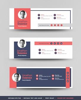 Дизайн шаблона подписи электронной почты, верхний и нижний колонтитулы электронного письма или обложка для личных социальных сетей