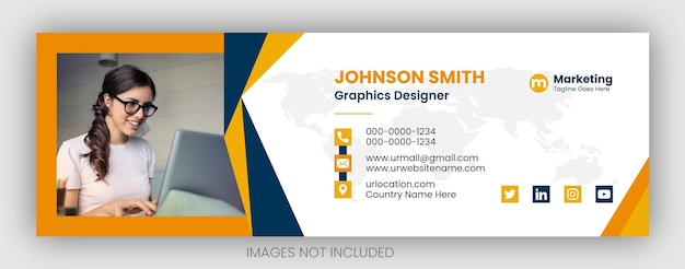 Email signature template or email footer and personal facebook cover