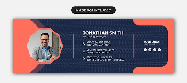 Email signature template or email footer and personal social media cover design
