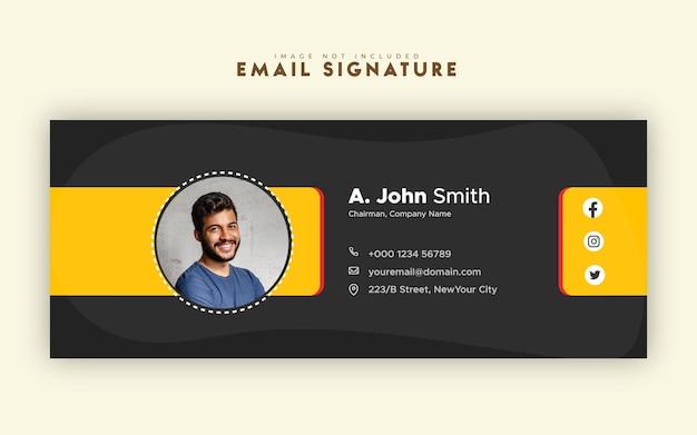Шаблон подписи электронного письма или нижний колонтитул электронного письма, а также дизайн обложки или визитки в социальных сетях