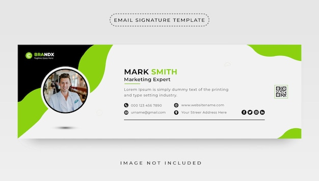 Email signature template or personal social media email footer cover design vector
