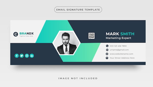 Email signature template or personal social media email footer cover design