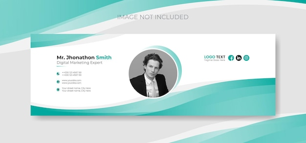 Email signature template and personal social media email footer cover design