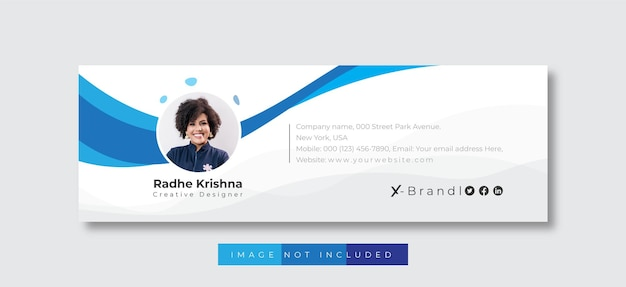 Email signature template and personal social media email footer