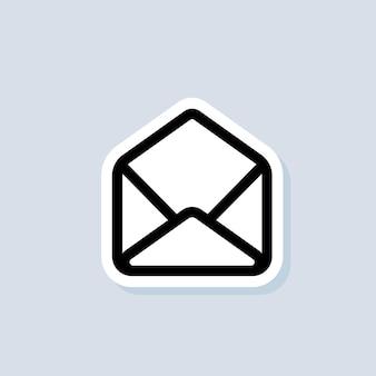 이메일 스티커. 봉투를 엽니다. 뉴스레터 로고. 이메일 및 메시징 아이콘입니다. 이메일 마케팅 캠페인. 격리 된 배경에 벡터입니다. eps 10.