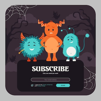 カラフルな面白いモンスターでデザインを購読するメール。角のある毛皮のような生き物とオンラインニュースレターのテンプレート。お祝いとハロウィーンのコンセプト。ウェブサイトのイラストのデザイン