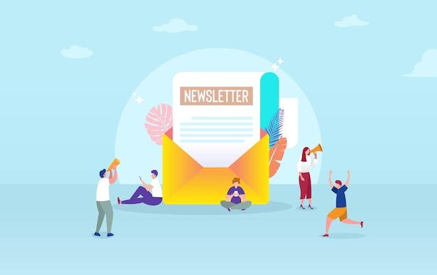 メール購読イラストコンセプト、メールマーケティングシステム、人々はスマートフォンを使用し、購読し、ニュースレターを受信