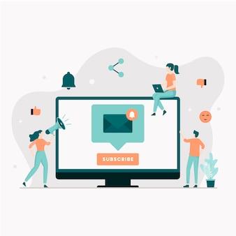 メール購読イラストのコンセプト。ウェブサイト、ランディングページ、モバイルアプリケーション、ポスター、バナーのイラスト。