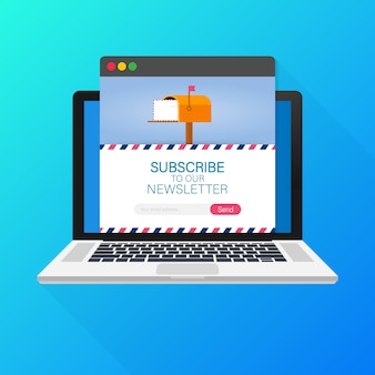 Email subscribe, online newsletter template with mailbox and submit button on laptop screen.