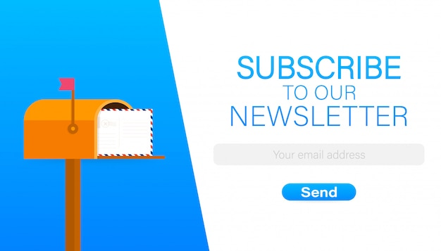 Email subscribe, online newsletter vector template with mailbox and submit button.